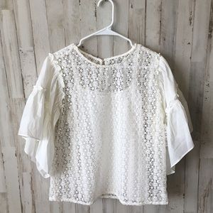 Anthropologie Maette white lace blouse size Large
